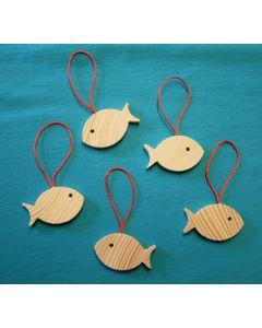 Fisch aus Holz (3 x 5,5 cm) zum Aufhängen